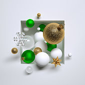 3d render, Christmas green and gold glass balls, ornaments, crystal snowflakes and stars, placed inside square niche. Abstract festive geometric background