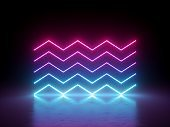 3d render, glowing horizontal neon zigzag lines, isolated on black, geometric background. Ultraviolet spectrum. Modern minimal concept