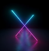3d render, abstract background with bright pink blue lines. Glowing neon light gradient. Ultraviolet spectrum. Laser rays in the dark perspective view. Futuristic minimal geometric design