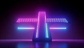 3d render, abstract neon light background, glowing led diodes, geometric shape with optical illusion perspective view. Ultraviolet illumination. Modern design