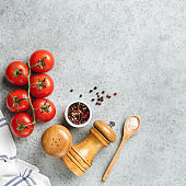 Ingredients for cooking on concrete background