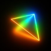 3d render, red green blue neon triangle of light, glowing triangular simple geometric shape perspective view, isolated on black background, blank space for text