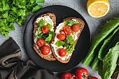 Ricotta toast with grilled tomatoes