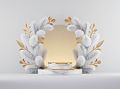 3d render, Christmas white gold background with empty marble stage and arch portal decorated with frozen spruce twigs and golden leaves. Seasonal showcase mockup for product presentation