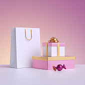 3d render. Commercial shopping concept, poster mockup. Shopping bag, wrapped gift box, candy isolated on pastel pink background. Product display for advertisement.