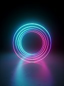 3d render, abstract round blank frame with copy space isolated on black background. Neon light glowing lines.