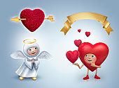 Valentine's day clip art set. Angel, broken heart, golden ribbon. Festive 3d illustration. Cute cartoon characters. Holiday icons, isolated decor elements.