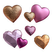 3d render, assorted metallic pink and golden heart objects isolated on white background, Valentine day design elements set. Festive romantic clip art collection, love symbols.