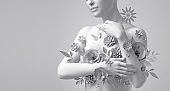3d render, floral female bust, white mannequin covered with delicate paper flowers, woman silhouette isolated on white background. Breast cancer support. Wedding fashion. Modern botanical sculpture