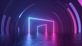 3d rendering, abstract geometric neon background with glowing lines