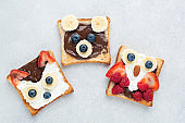 Funny Healthy Breakfast Toasts For Kids Shaped As Cute Animals