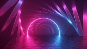 3d render, abstract futuristic neon background, round arch inside long tunnel, glowing line in ultraviolet spectrum