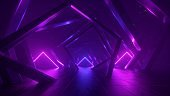 3d render, abstract geometric background with neon light, cosmic wallpaper with polygonal structure, chaotic square frames, ultraviolet spectrum