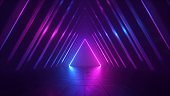 3d render, abstract background with pink blue glowing neon light triangle, geometric wallpaper with triangular tunnel