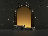 3d render, abstract minimal black gold background with marble pedestals and golden arch, empty stage with golden confetti. Product presentation showcase mockup for black friday sale