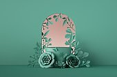 3d render, abstract mint green botanical floral background. Frame with paper rose flowers, botanical arch. Shop product showcase display, empty podium, vacant pedestal round stand. Blank poster mockup