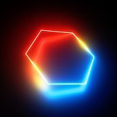 3d render, red blue neon light, glowing hexagon simple geometric shape perspective view, isolated on black background, blank space for text