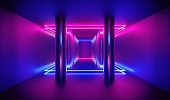 3d render, abstract pink blue neon background, empty room with rows of metallic chrome columns
