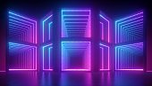 3d render, abstract pink blue neon background, geometric structure, construction illuminated with ultraviolet light. Empty square blocks