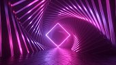 3d rendering, abstract pink neon background with glowing rhombus frame, futuristic wallpaper