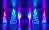 3d render, abstract minimal geometric background. Glowing neon lines. Tunnel, corridor, stage illumination, fashion podium. Blank rectangular frame with copy space