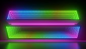 3d render, abstract neon background, empty boxes with green blue pink glowing light. Futuristic technology minimal design