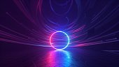 3d render, abstract futuristic background with neon ring, cosmic wallpaper, round shapes glowing in ultraviolet spectrum