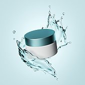 3d rendering, cosmetic bottle branding mockup, white cream jar and water splash levitate, blank package for skin care product