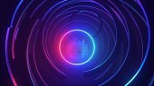 3d render, abstract futuristic neon background with round frame, ultraviolet glowing ring