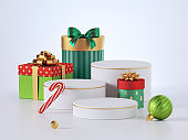 3d render, Christmas gift boxes with empty pedestals isolated on white background. Wrapped packages, traditional festive gifts and blank podium.