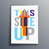 This Side Up poster abstract design. Vector illustration