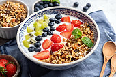 Yogurt with granola and berries in bowl