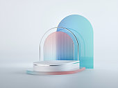 3d render, abstract geometrical background with pink blue translucent glass arches. Modern minimal showcase mockup. Vacant pedestal, empty podium, stage platform for commercial product displaying