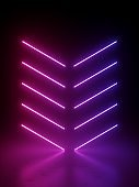 3d render, abstract background with bright neon arrow lines glowing in ultraviolet spectrum. Pink violet light laser rays in the dark. Minimal geometric design.