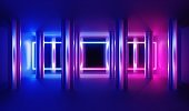 3d render, abstract background, empty indoor interior illuminated with blue pink neon light. Glowing frame between metallic columns.