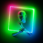 3d render, abstract modern minimal concept. Mannequin body parts, bald head, woman face, hands holding geometric shape. Portrait inside neon square frame, rgb green blue pink colorful glowing light