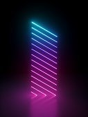 3d render, abstract background with glowing neon lines. Bright ultraviolet spectrum. Pink blue violet light laser rays in the dark. Minimal geometric design.