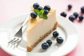 Classical Cheesecake Slice Served With Fresh Blueberries And Mint Leaf