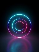 3d render, abstract geometric background with multiple rings over black, glowing lines, neon light gradient.