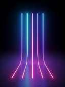 3d render, abstract background with neon light. Pink blue violet vertical glowing lines. Laser rays in the dark. Minimal geometric design. Virtual reality futuristic graphics. Ultraviolet spectrum.