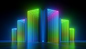 3d render, abstract colorful neon background, empty boxes with green blue pink light illumination inside.