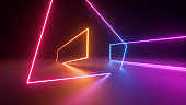 3d render, abstract neon geometric background. Stage laser show illumination. Colorful rectangular shapes, square frames, virtual reality. Glowing neon lines. Minimal futuristic design