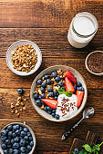 Granola bowl with blueberries, strawberries and greek yogurt