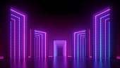 3d render, abstract ultraviolet background, geometric construction illuminated with pink blue violet light. Empty blocks