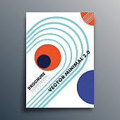 Bauhaus retro geometric shapes design for flyer, poster, brochure cover, typography or other printing products. Vector illustration