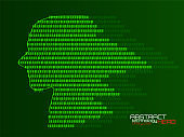 Artificial intelligence. Abstract human head barcode with binary code. Technology background