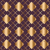 Abstract vintage geometric seamless pattern. Golden background.