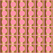 Abstract vector geometric seamless pattern with circles inside restangles.