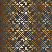 Abstract vintage geometric seamless pattern. Brown golden background.