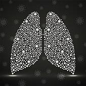 Abstract human lung with coronavirus molecules